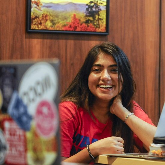 Shivani Mahajan, a student at Wofford College in Spartanburg, South Carolina, enjoyed her experience in a class in her Humanities 101 course, which allowed her to connect with peers in Egypt and Lebanon.
