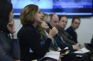 Sara Shirzad, of the Eurasia Foundation, asks a question at the virtual exchange forum.